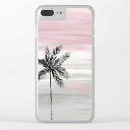 palm tree silhouette mauve sunset sky Clear iPhone Case