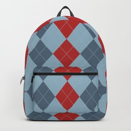 Blue and Red Argyle Diamond Plaid Print Backpack