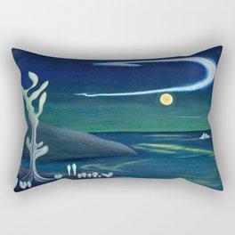 Island Moon before the World coastal island landscape painting by Marguerite Blasingame Rectangular Pillow