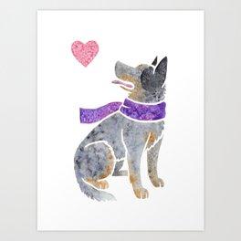 Watercolour Australian Cattle Dog Art Print