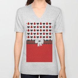 Ladybug and Hearts Unisex V-Neck