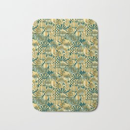 Chinese Symbols in Gold and Emerald Jade Green Bath Mat