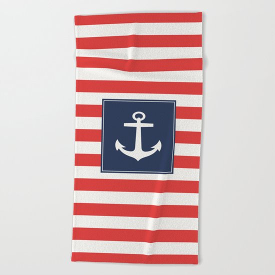 Anchor on red and white stripes Beach Towel