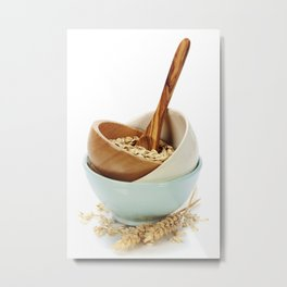bowl of oat flakes on white background Metal Print