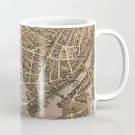 Vintage Pictorial Map of New London CT (1876) Coffee Mug