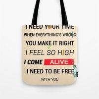 ellie goulding Tote Bags featuring I Need Your Love ; Ellie Goulding feat. Calvin Harris by Wis Marvin