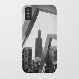 Sears Tower Sculpture Chicago Illinois Black and White Photo iPhone Case