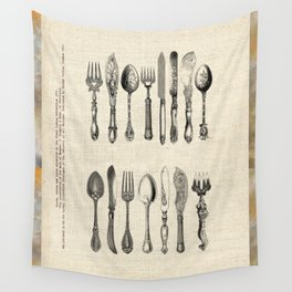 antique cutlery Wall Tapestry