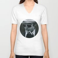 hunter s thompson V-neck T-shirts featuring Hunter S. Thompson on vinyl record print by Eric Popp