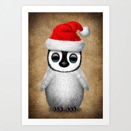 Baby Penguin Wearing a Santa Hat Art Print