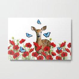 Little Deer - Poppies Field and Morpho Butterflies Metal Print