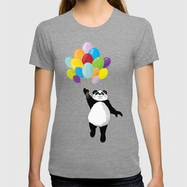 Panda floating in the air with balloons T-shirt