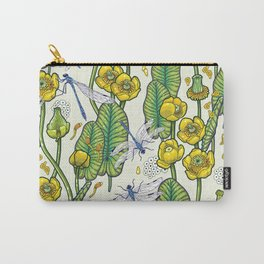 yellow water lilies and dragonflies Carry-All Pouch