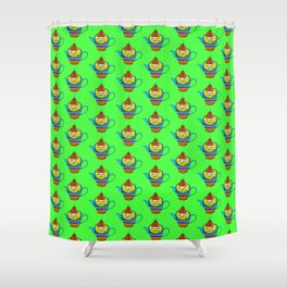 Dream Pattern - House in Cup - TeaPot - Dream Color - Green Shower Curtain