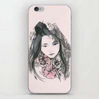 viria iPhone & iPod Skins featuring pale flowers by viria