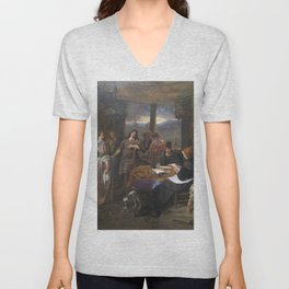 Jan Steen - The Marriage of Tobias and Sarah (The Marriage Contract) Unisex V-Neck