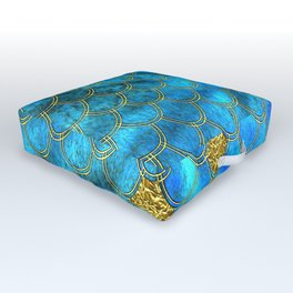 Blue Aqua Turquoise And Gold Glitter Mermaid Scales -Beautiful Mermaidscales Pattern Outdoor Floor Cushion