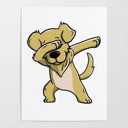 Dabbing Golden Retriever Dog Dab Dance Poster