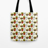 junk food Tote Bags featuring Junk Food Pattern by mebz art
