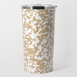 Small Spots - White and Tan Brown Travel Mug