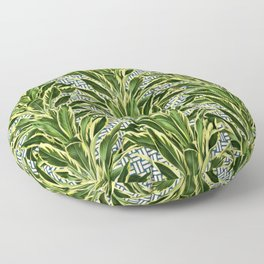 Geometric Palm Leaf Pattern - Blue White Gold Floor Pillow