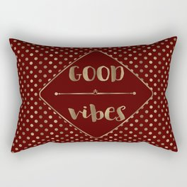 Gold Burgundy Polka Dots Good Vibes Rectangular Pillow