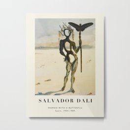 Vintage poster-Salvador Dali-Woman with a butterfly .  Metal Print