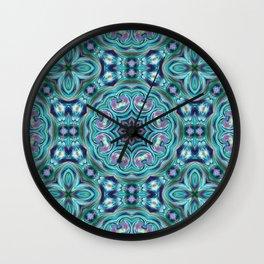 Blue ornament. Kaleidoscope. Wall Clock