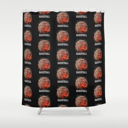 Basketball on Fire Shower Curtain