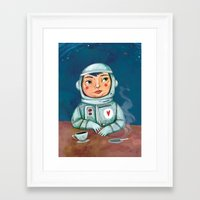 spaceman Framed Art Prints featuring Spaceman by Milena Milak