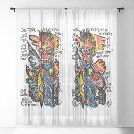 NewYork Graffiti Art Respect Words  Sheer Curtain