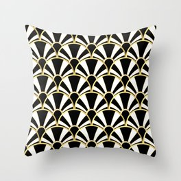 Black, White and Gold Classic Art Deco Fan Pattern Throw Pillow