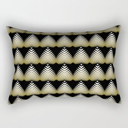 Pattern of yellow hearts and flowers on a black background. Rectangular Pillow
