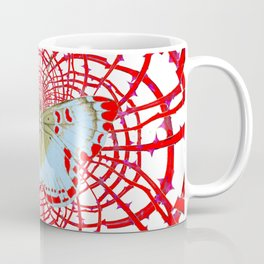 ARTISTIC RED-WHITE BUTTERFLY DREAM CATCHER WEB Coffee Mug