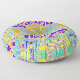 Turquoise Multi Colored Mosaic Style Pattern Floor Pillow