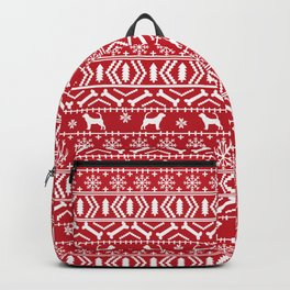 Bloodhound fair isle christmas sweater red and white minimal dog silhouette holiday gifts Backpack