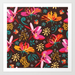 Tropical flower pattern Art Print