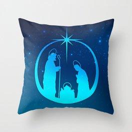 Nativity Scene Silhouette  Throw Pillow