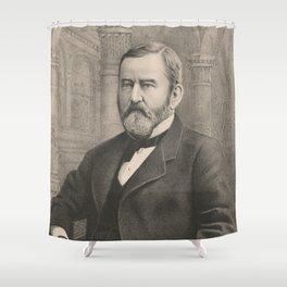 Vintage Illustrative Portrait of Ulysses S Grant (1885) Shower Curtain