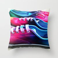 sneakers Throw Pillows featuring sneakers by NatalieBoBatalie