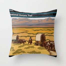 Vintage Poster - Oregon National Historic Trail (2018) Throw Pillow
