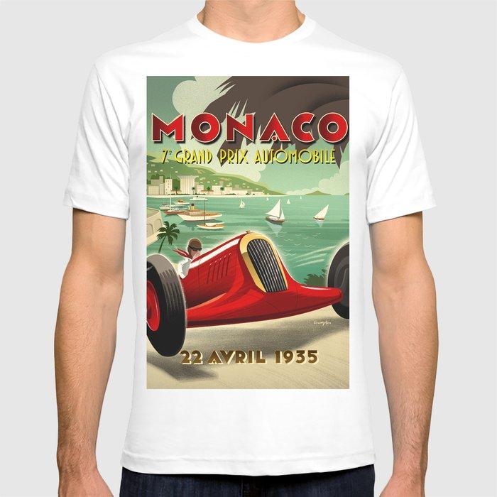 Monaco 1930 S Race T-Shirt T-shirt graphique Racer voiture TEE Vintage Voiture T-shirt
