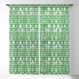 Green & White Nordic Ugly Sweater Christmas Pattern Sheer Curtain