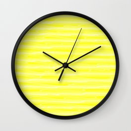 Curved gentle scribbles of art waves and light yellow lines. Wall Clock