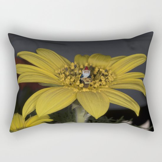Gnome Flower Harvest Rectangular Pillow
