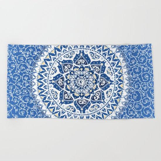 Yin Yang Mandala Pattern (Blue & Yellow) Beach Towel