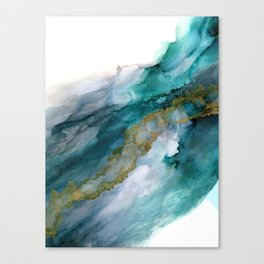 Wild Rush - abstract ocean theme in teal, gray and gold color Canvas Print