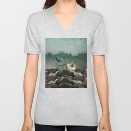 Behold the Mythical Merkitticorn - Mermaid Kitty Cat Unicorn Unisex V-Neck