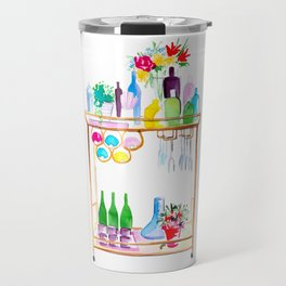 Watercolour Bar Cart Travel Mug