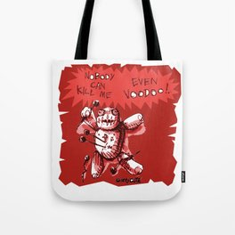 cartton style voodoo baby with red background Tote Bag